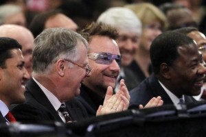 Bono in front row at Pres. Obama's address. (Photo: Pablo Martinez Monsivais/AP)